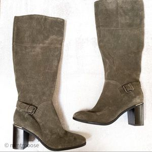 BANDOLINO Olive Green Suede Knee High Boots